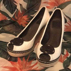 TORY BURCH White Canvas & Leather Peep-Toe, Size 8
